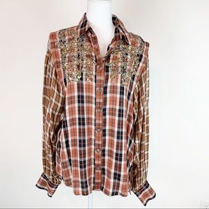 Free people embroidered embellished plaid shirt
